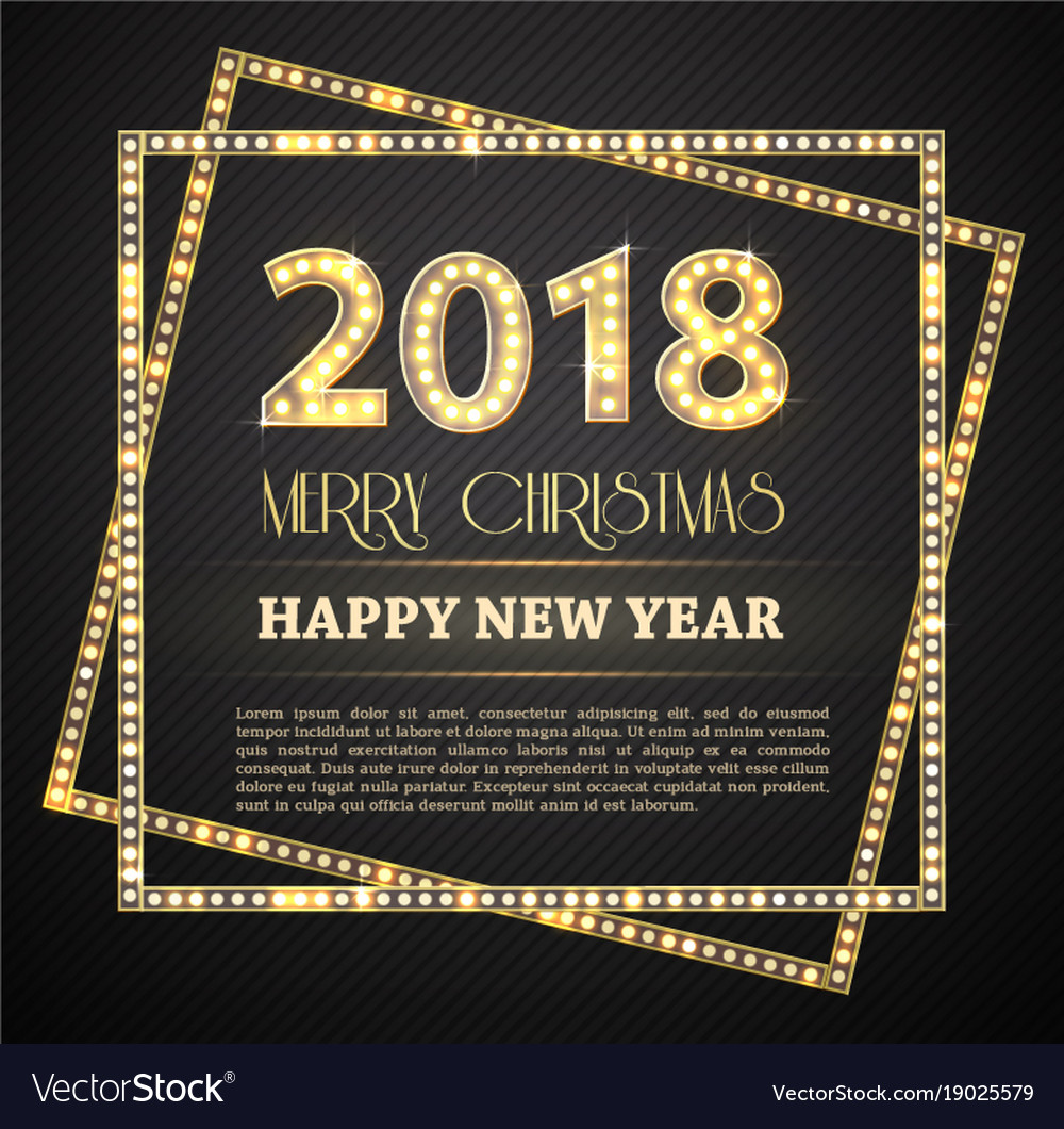 2018 new year count symbol with light bulbs