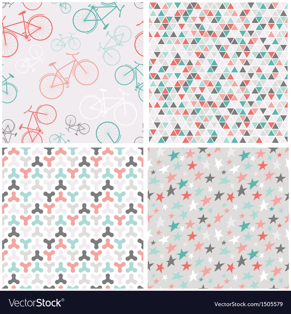 4 seamless patterns in pink turquoise and grey