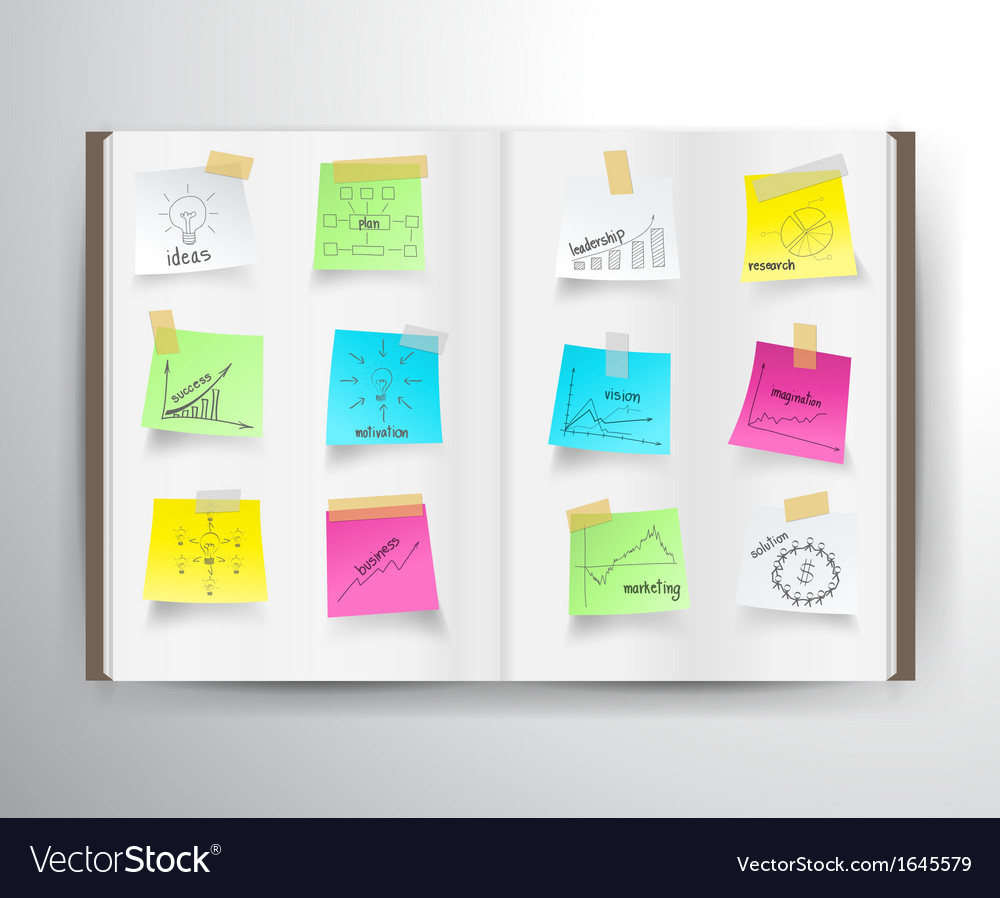 Book with drawing charts and graphs vector image