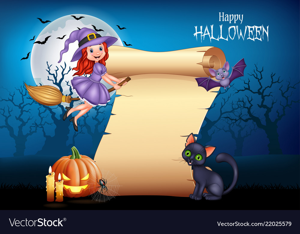 Cartoon little witch flying on a broomstick with h