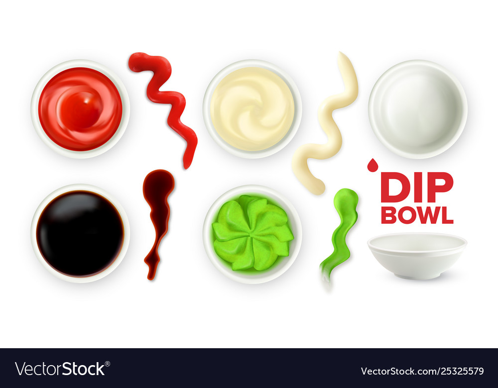 Empty dip bowl and full with sauce set