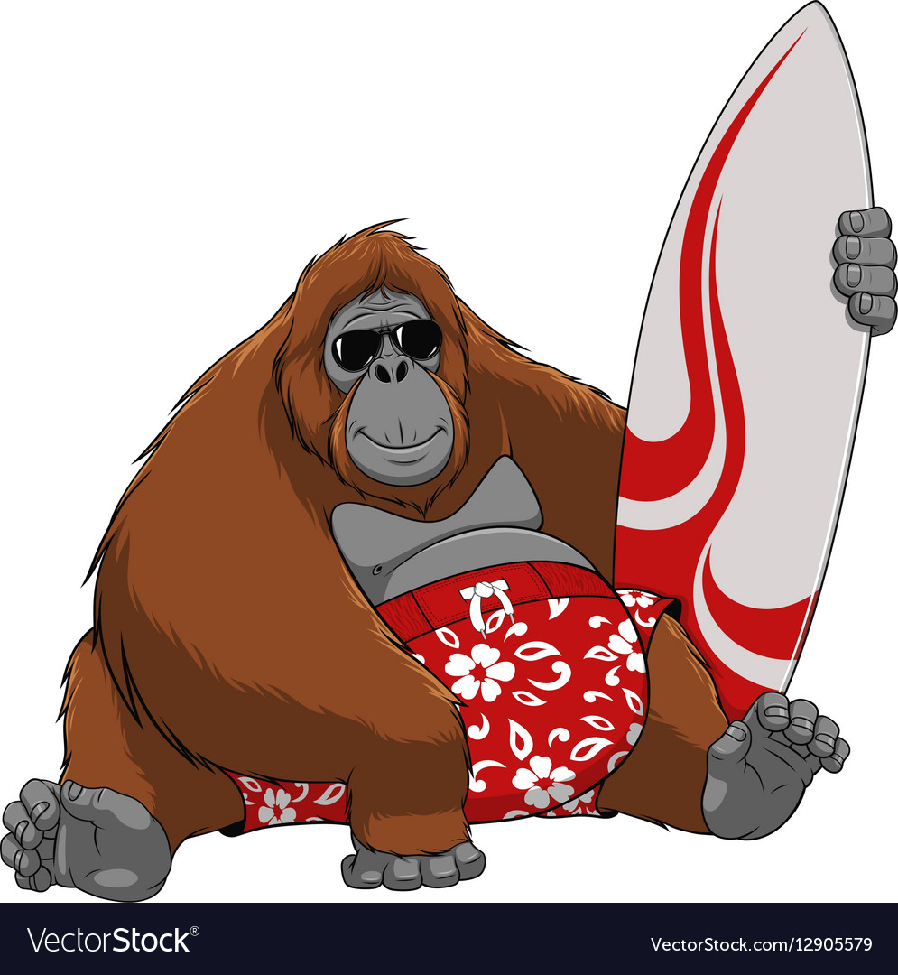 Funny Monkey Surfer Royalty Free Vector Image Vectorstock