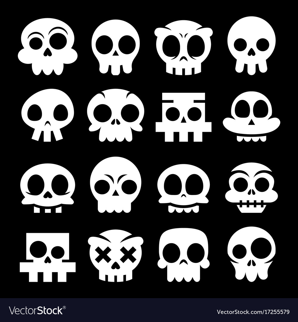 Halloween cartoon skull icons mexican