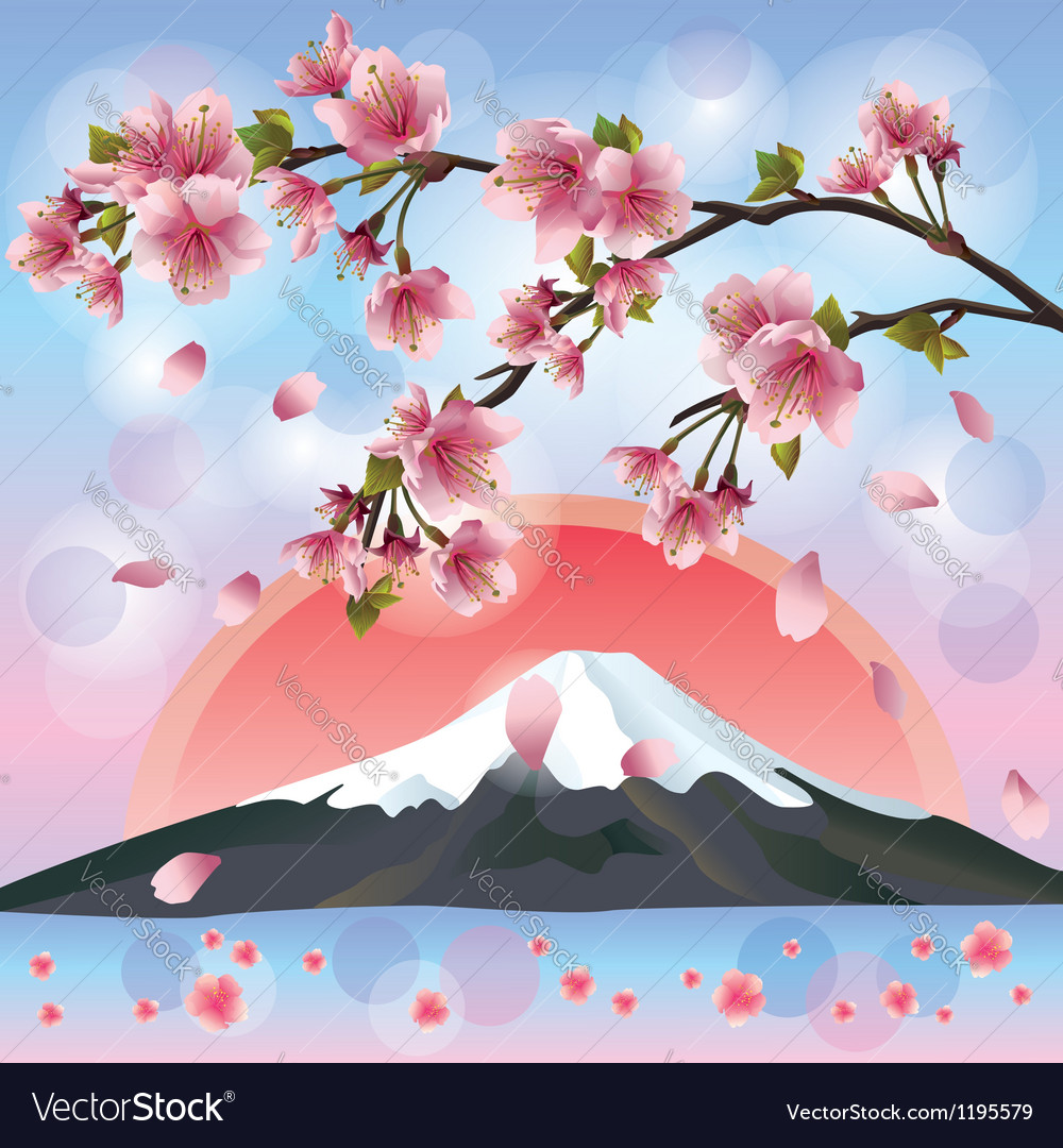 Japanese landscape with mountain and sakura