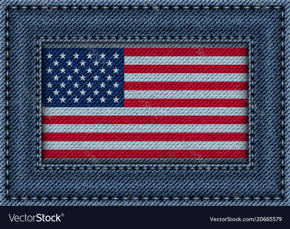 Jeans frame with flag of usa Royalty Free Vector Image