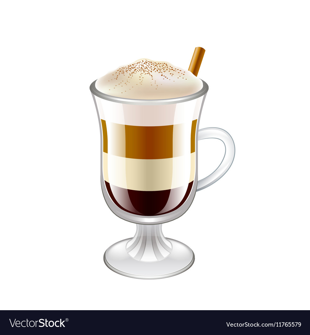 Latte layered coffee drink isolated