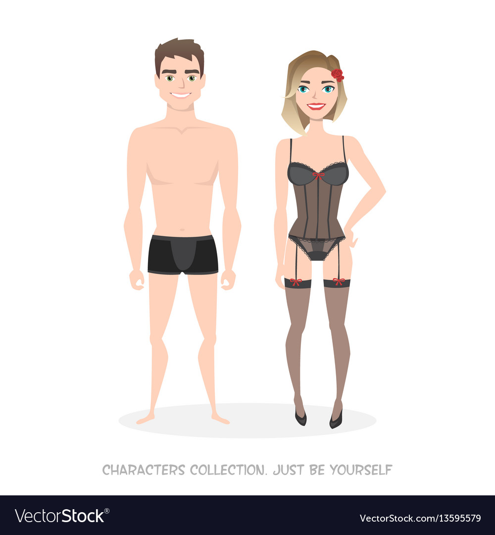 Man and woman in lingerie cartoon style