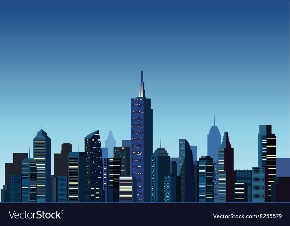 Modern Building With Night City Background Vector Image