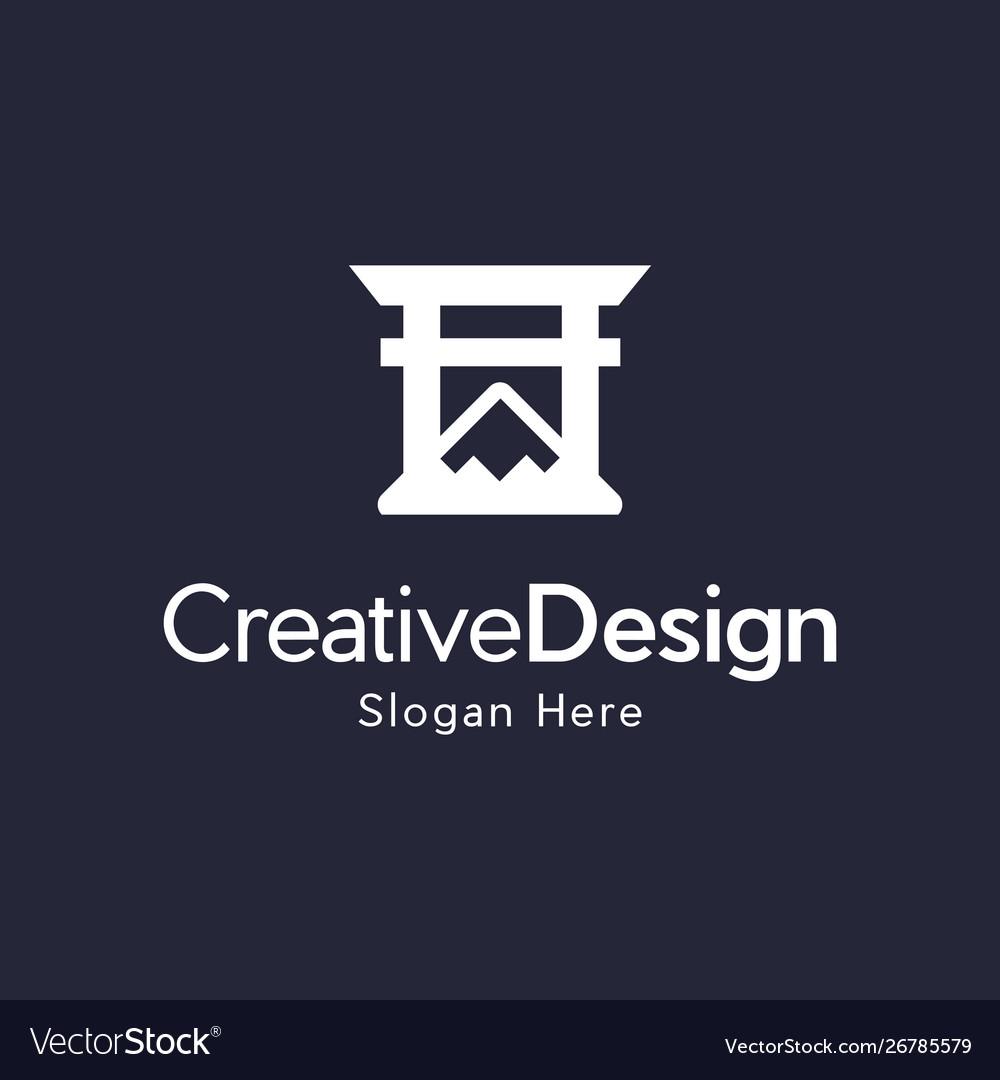 Mountain gate naturally creative logo vector image