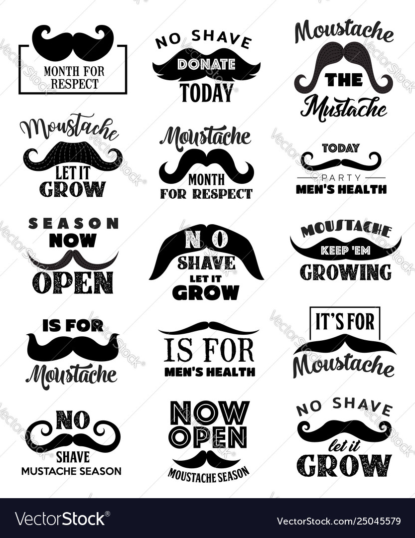 Movember men health mustaches lettering icons