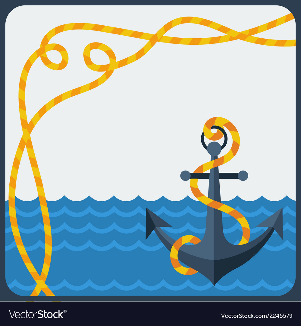 Nautical card with anchor and rope in flat design
