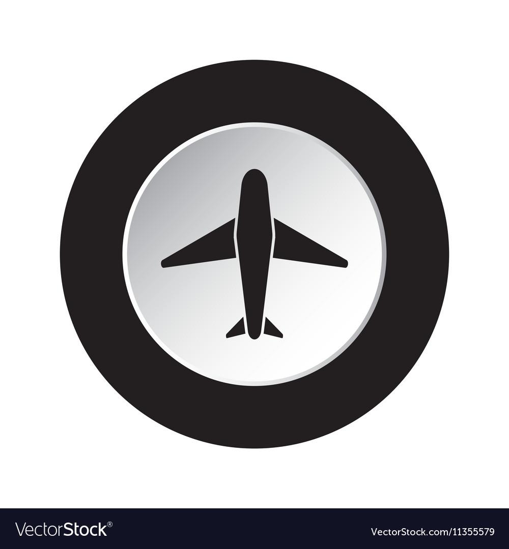 Round black and white button - airplane icon