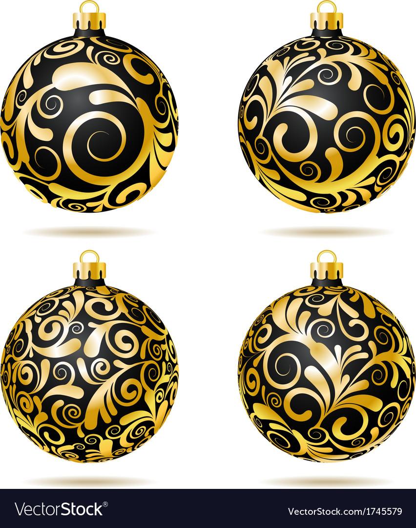set of black and gold christmas balls vector image - Black And Gold Christmas Ornaments