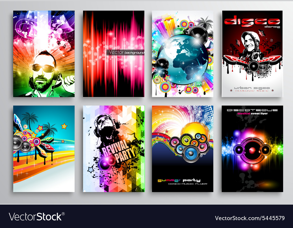 Set Of Club Flyer Design Party Poster Templates Vector Image