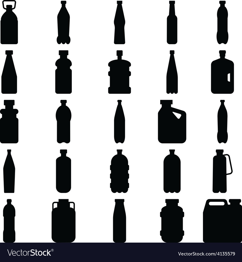 Set of silhouettes of plastic bottles and other co vector image