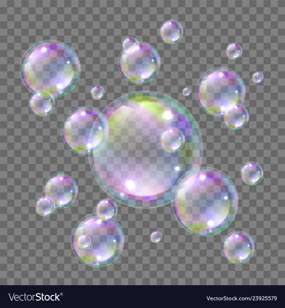 Soap bright flying colorful bubbles realistic