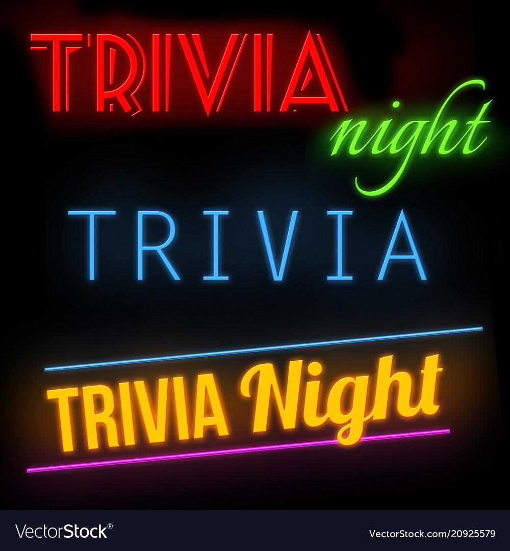 Trivia night glowing neon sign