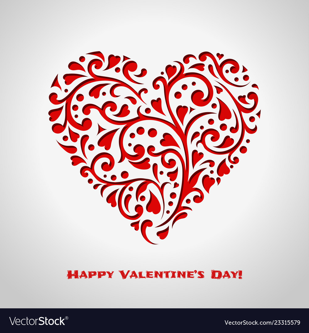 Valentines day card with red ornate heart