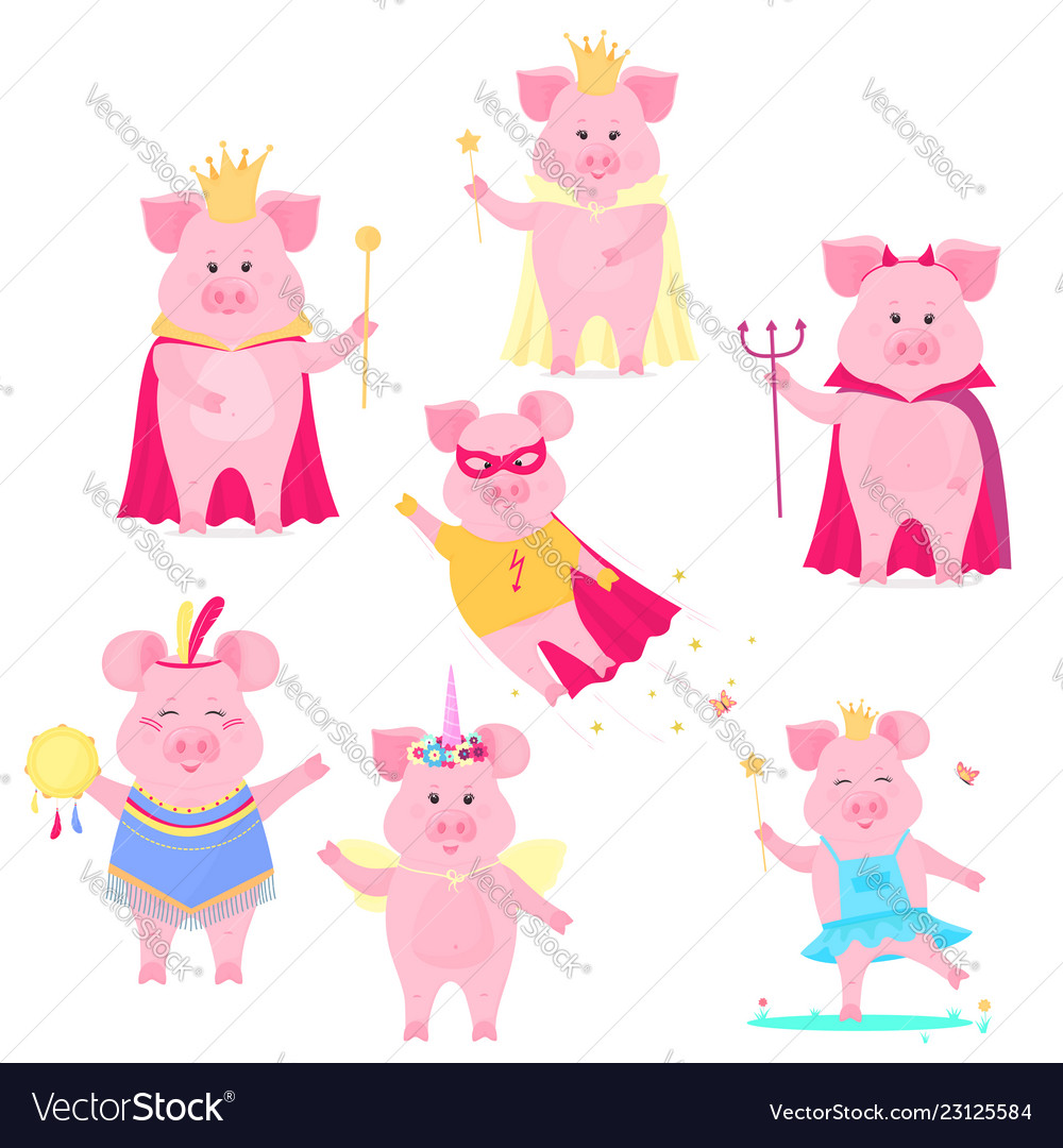 a set of funny pig characters the king and queen vector image