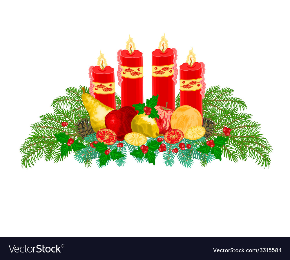 Christmas decoration Advent wreath with fruit