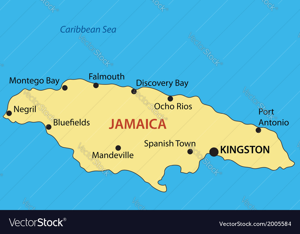 Jamaica On Map Commonwealth of Jamaica   map Royalty Free Vector Image