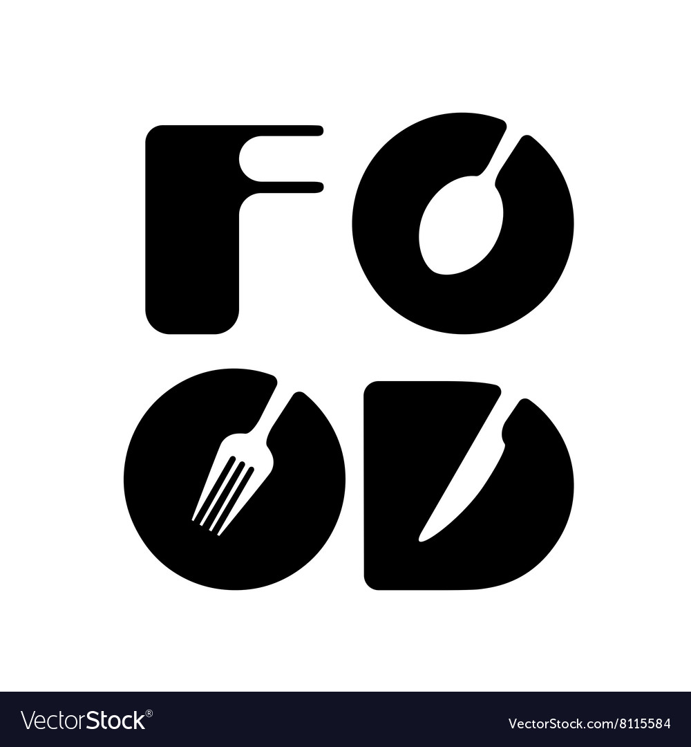 Creative food menu word logo element
