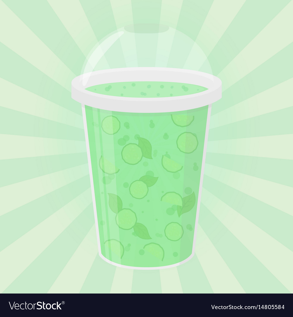 Green detox drink healthy smoothie flat style vector image