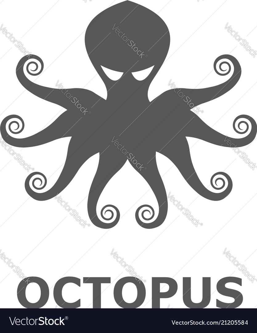 Icon octopus isolated on white background