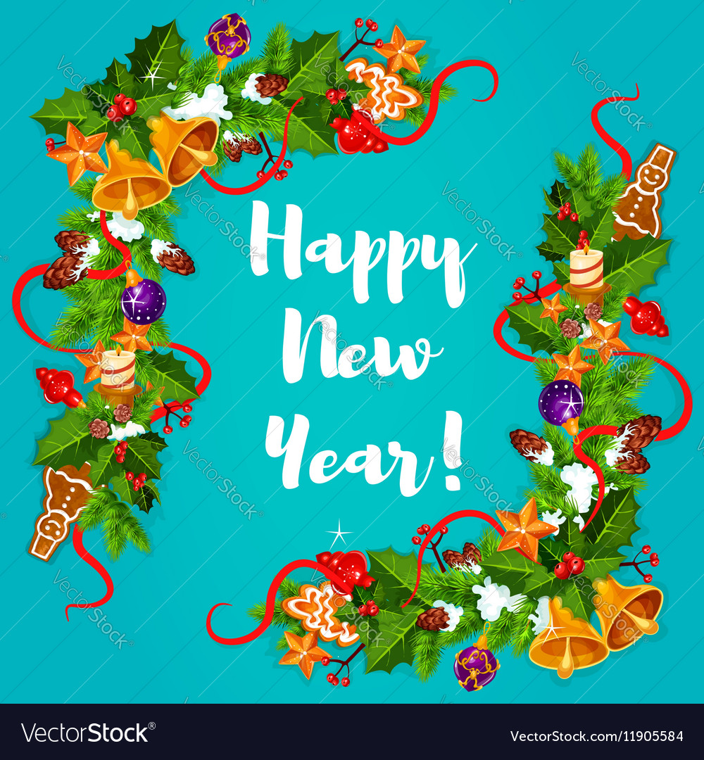 New Year poster Garland frame