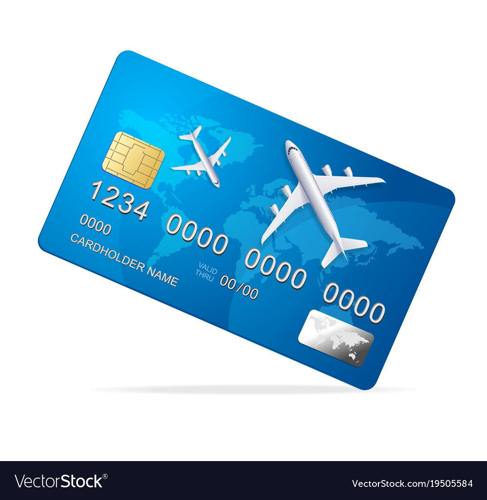 Realistic 3d detailed credit card with plane