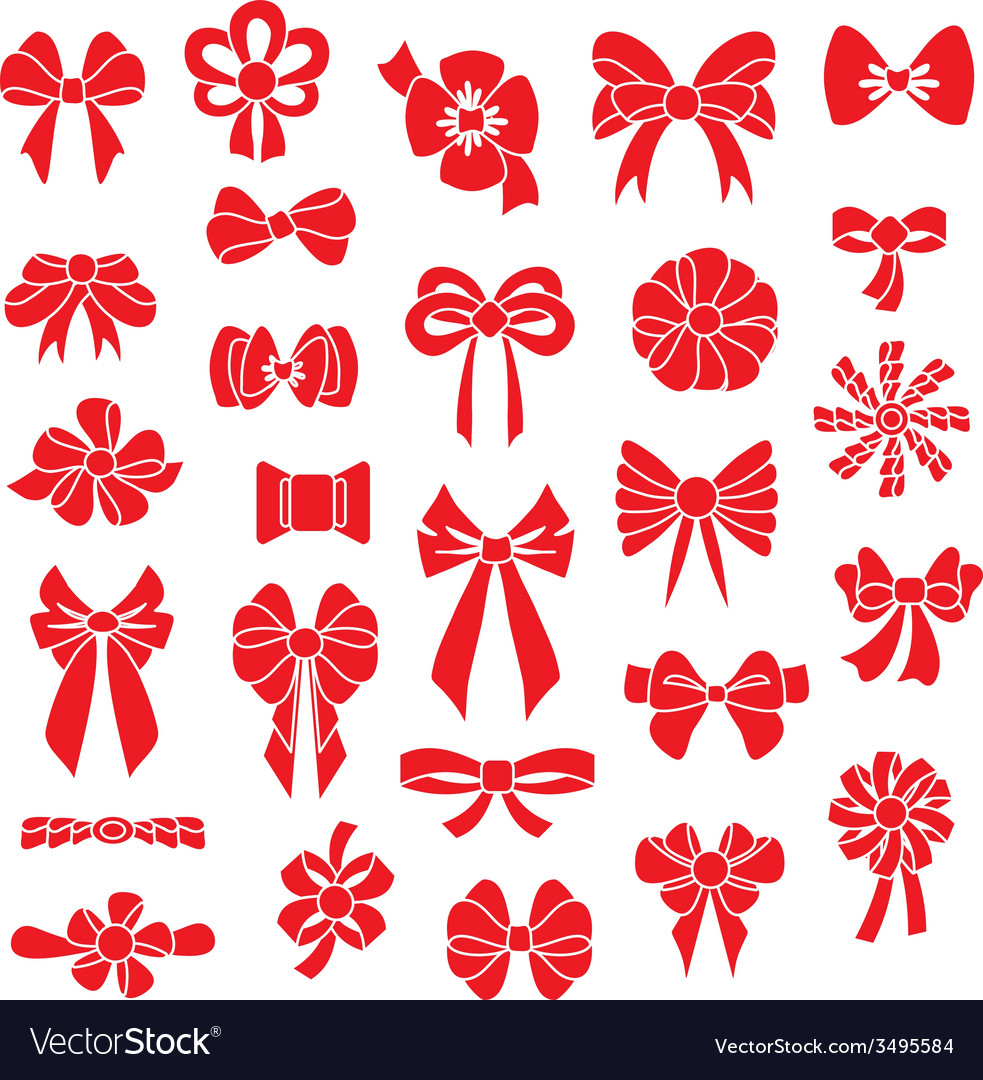Set bows of different shapes red color