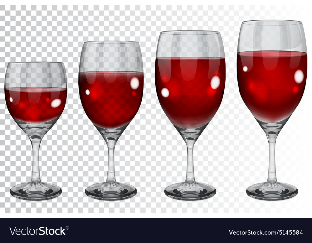 Set of transparent glass goblets with wine