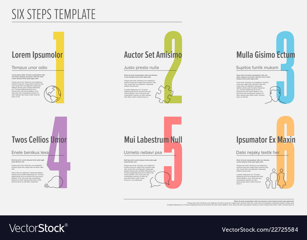 Six steps progress template with nice typography