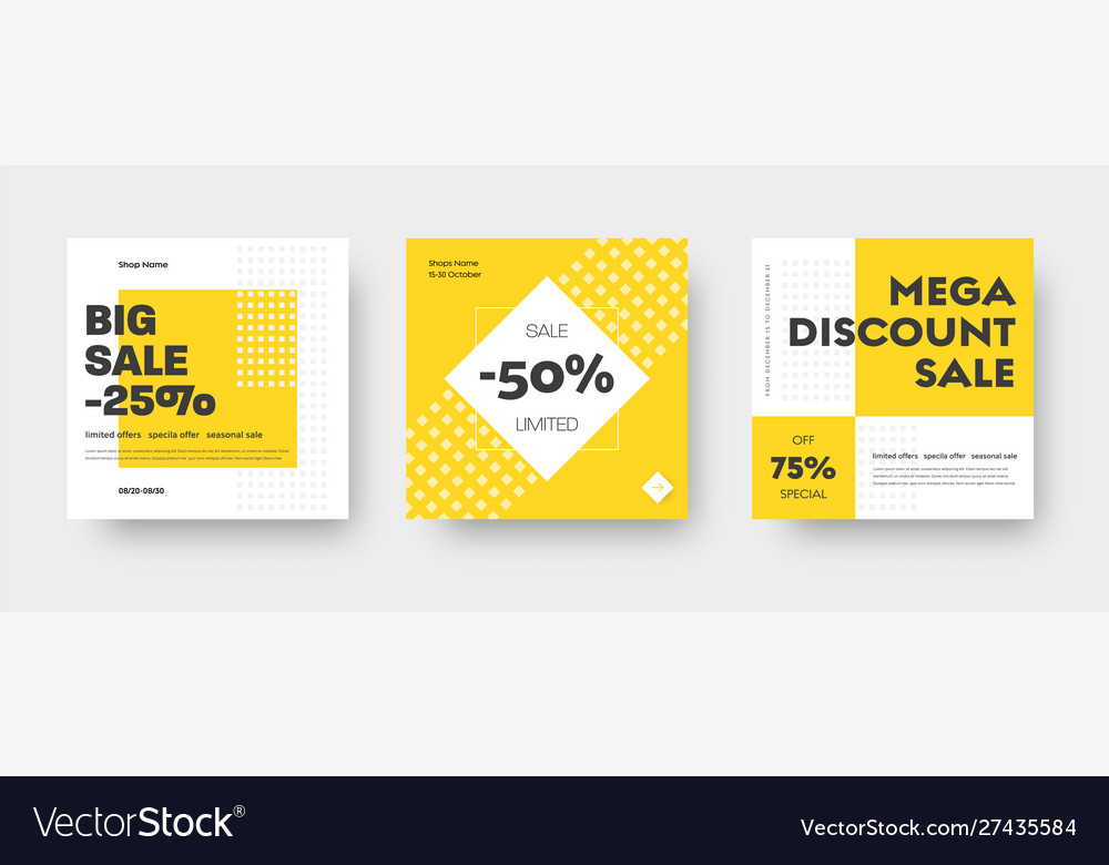Square web banner templates for big and mega sale