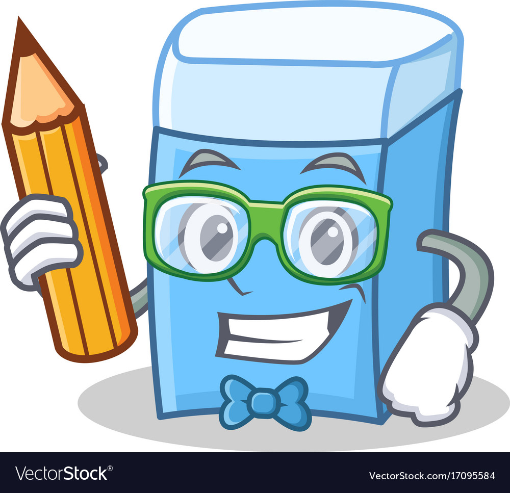 Student with pencil eraser character mascot style