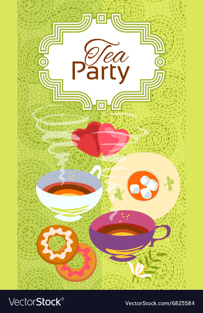 Tea Party Invitation Card Frame Over Pattern Vector Image