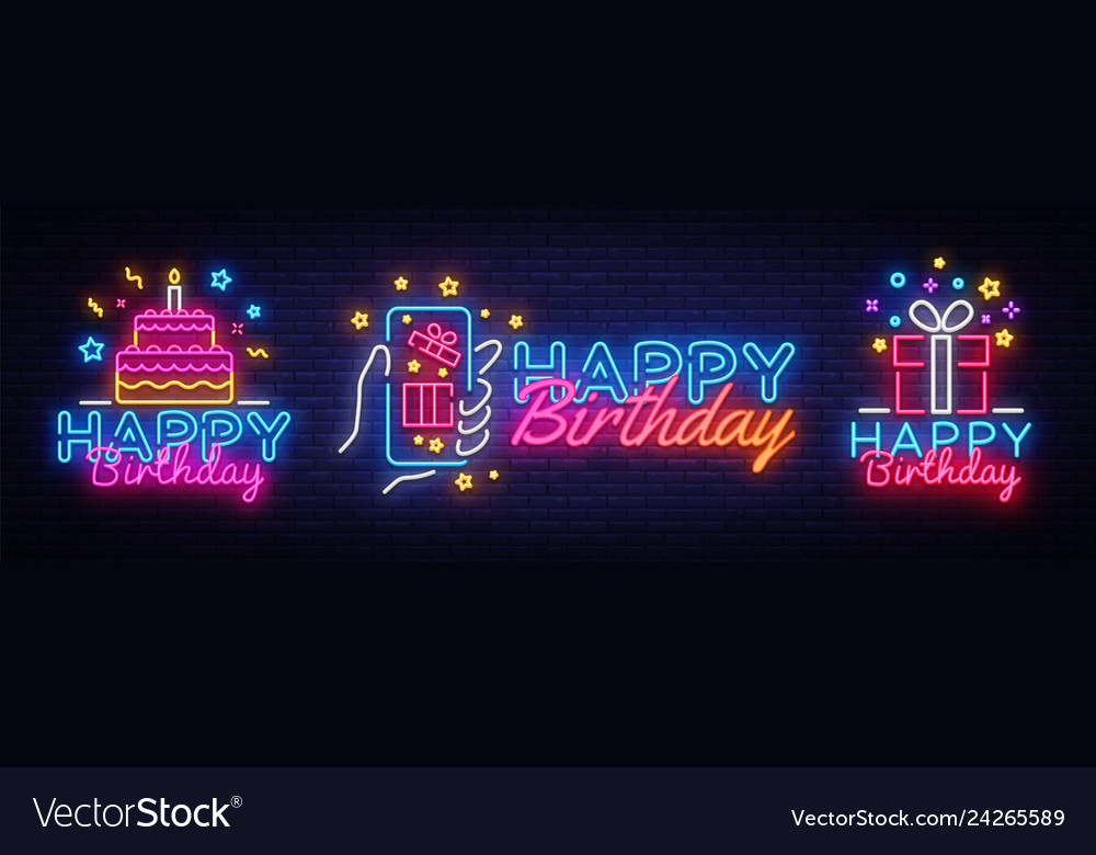 Big collectin neon signs for happy birthday neon