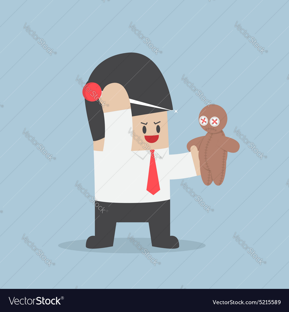 Businessman try to prick needle into a voodoo doll vector image