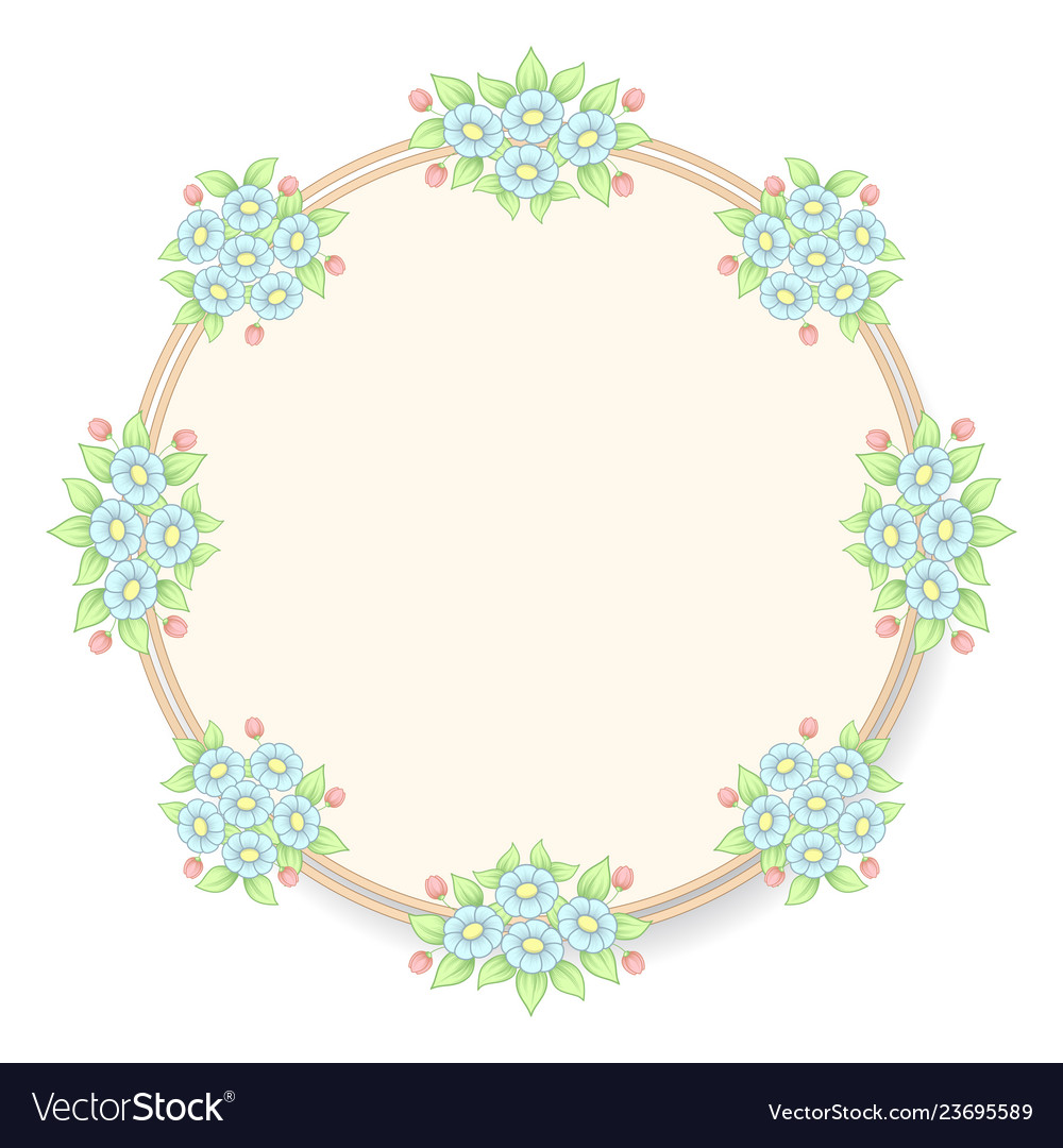 Daisy flowers pastel circle frame