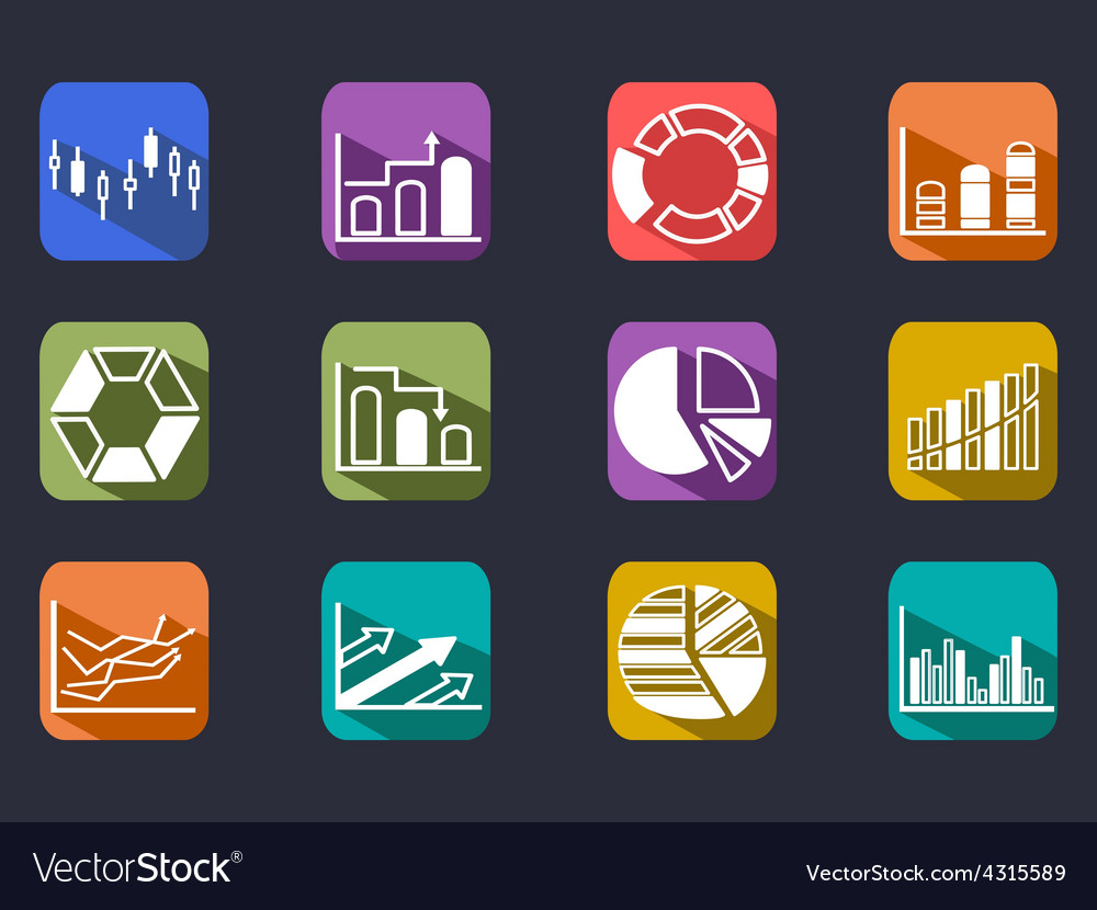 Diagram Icons Set with long shadow vector image