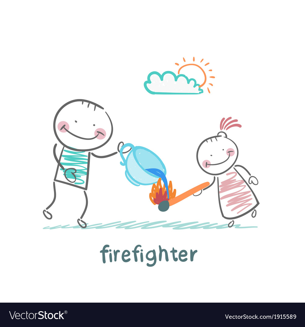 Firefighter sprays water on a burning stick out of vector image