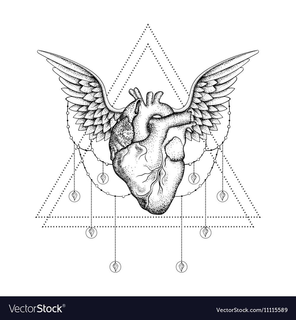 e34837cbca018 Hand drawn boho tattoo Blackwork heart with wings Vector Image