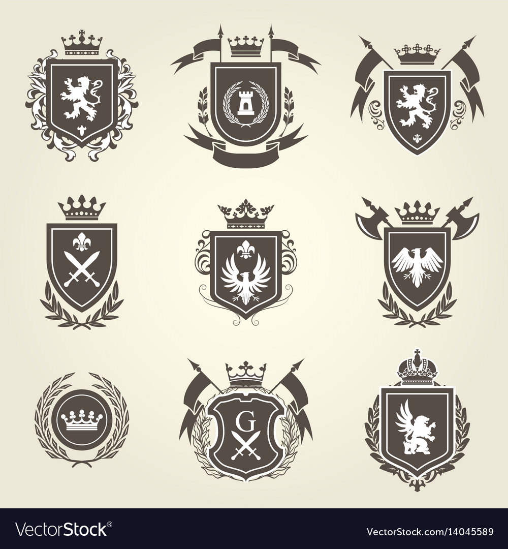 Knight coat arms and heraldic shield blazons