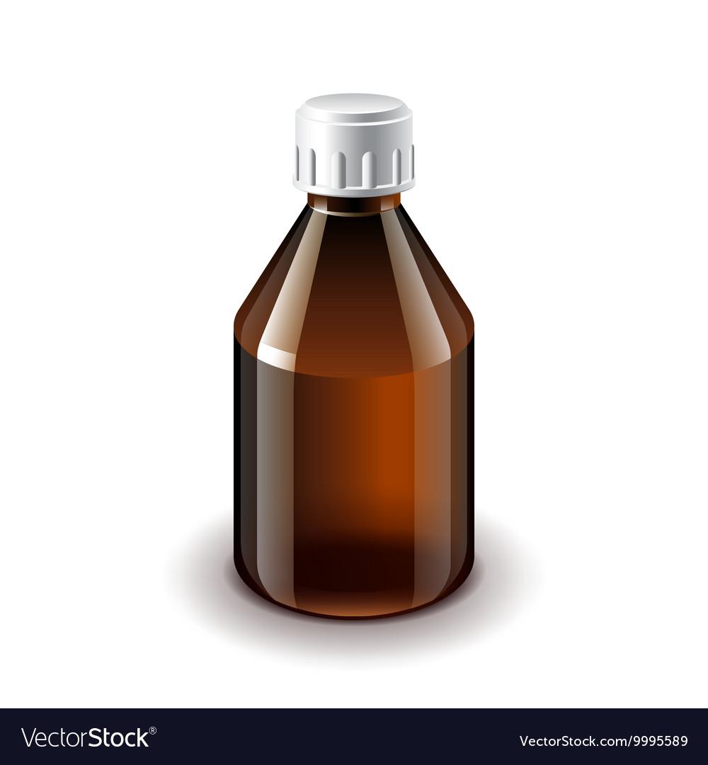 Medical dark glass bottle isolated vector image