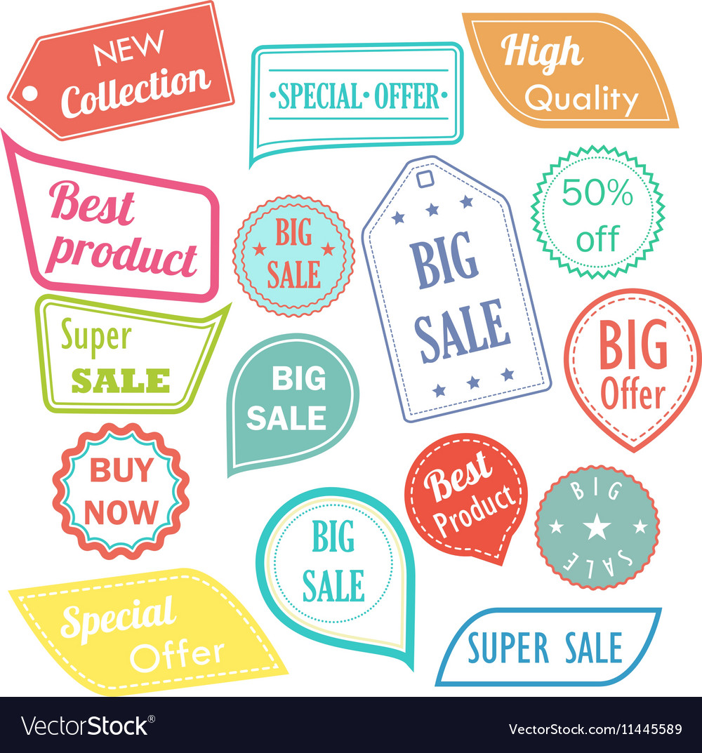 Modern flat design sale stickers Sale hipster