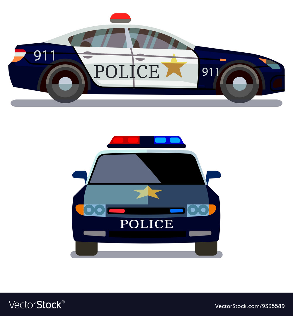 Police car front and side view