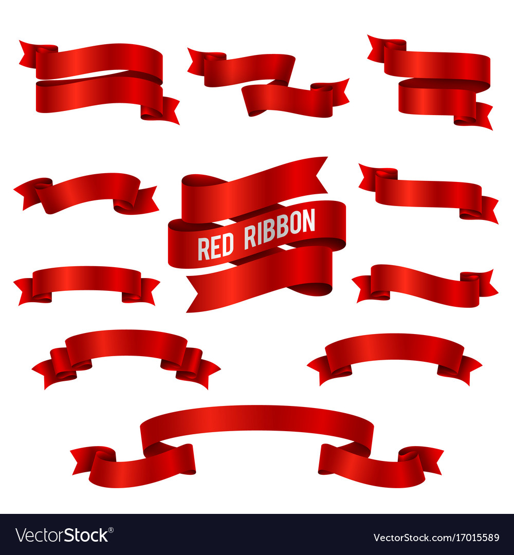 Silk Red 3d Ribbon Banners Set Isolated Royalty Free Vector