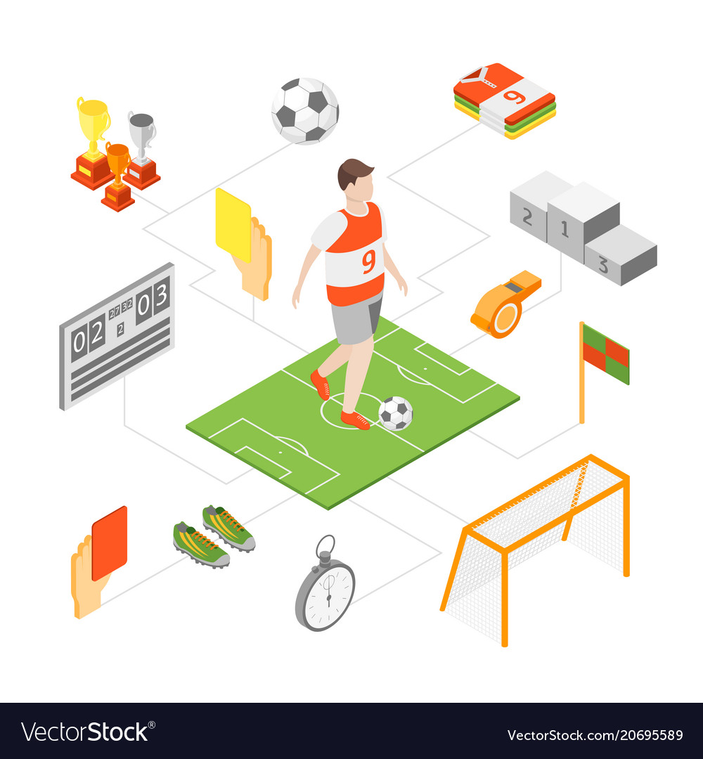 Soccer sport game signs 3d icons set isometric