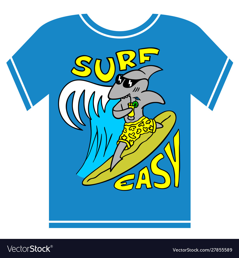 Surfing kids t-shirt cool shark boy