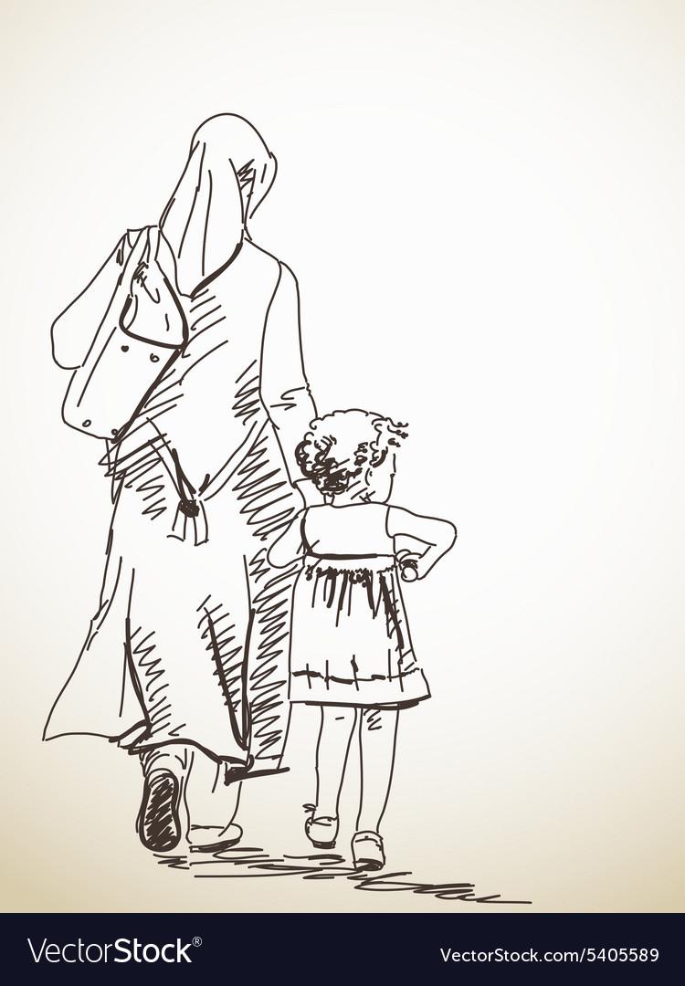 Woman and girl vector image